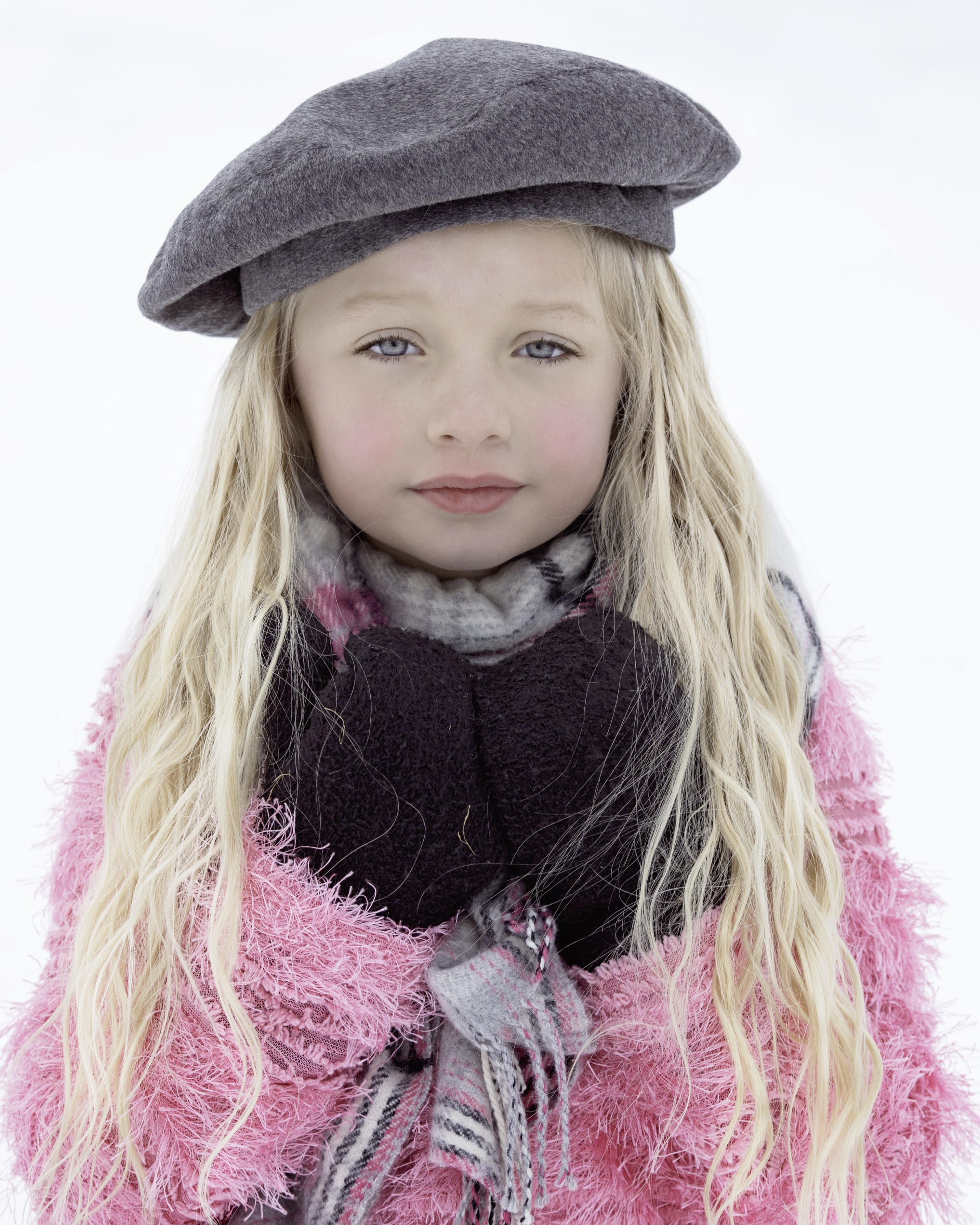 zima dziewczynka beret